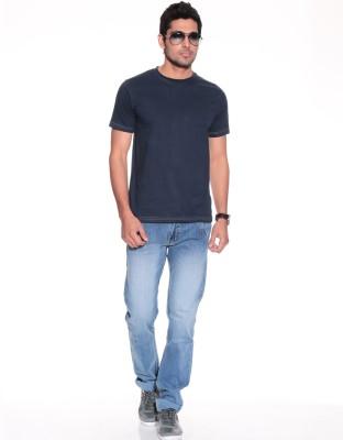 Purys Solid Men,s Round Neck Dark Blue T-Shirt