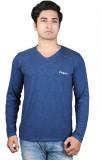 Finger's Solid Men's V-neck Blue T-Shirt