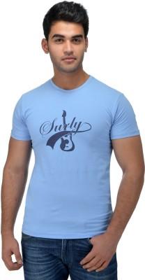 Surly Printed Men's Round Neck Blue T-Shirt