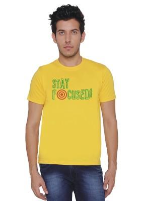 Threadz Printed Men's Round Neck Yellow T-Shirt