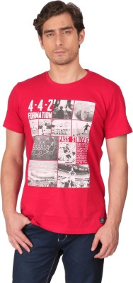 CFT Printed Men's Round Neck Red T-Shirt