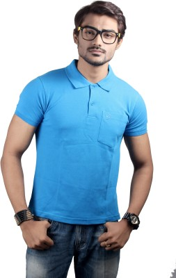 Spur Solid Men's Polo Neck Blue T-Shirt