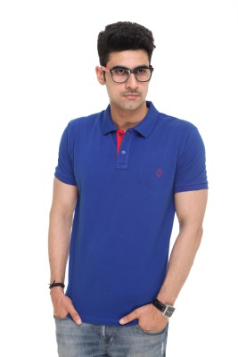 Colors and Blends Solid Men,s Polo Blue T-Shirt