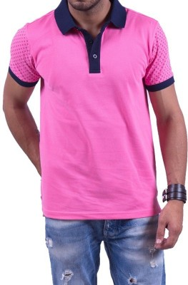 Cotton & Blends Printed Men's Polo Neck Pink T-Shirt