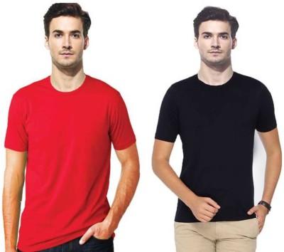 Gallop Solid Men's Round Neck Red, Black T-Shirt