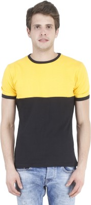 Bonzer Fashion Solid Men's Round Neck Black, Yellow T-Shirt