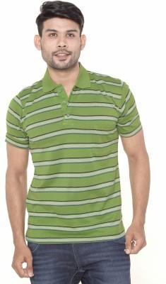 Gleneagles Striped Men's Polo Neck Green T-Shirt