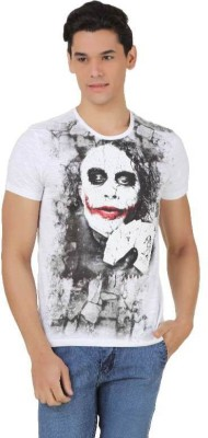 Joker Printed Men's Round Neck White, Black T-Shirt