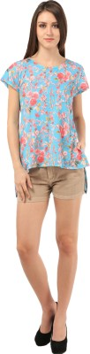 Meee Printed Women's Round Neck Light Blue T-Shirt