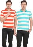 Duke Solid Men's Polo Neck Orange, Blue ...