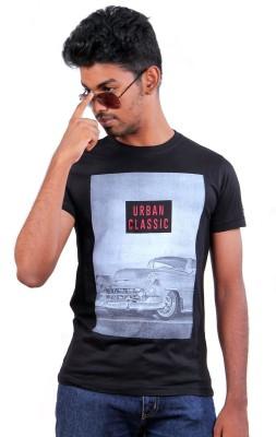 S CUBE Printed Men's Round Neck Black T-Shirt