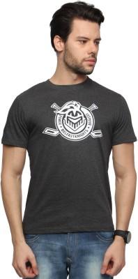 Zovi Printed Men's Round Neck Grey T-Shirt