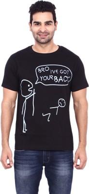 Pagal Desi Printed Men's Round Neck Black T-Shirt