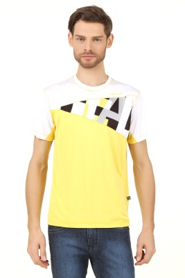 Head Solid Men's Round Neck Yellow T-Shirt