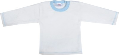 Tillu Pillu Solid Baby Boy's Round Neck White T-Shirt