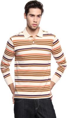 Zovi Striped Men's Polo Neck Yellow T-Shirt