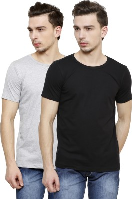 Casual Tees Solid Men's Round Neck Black, Grey T-Shirt