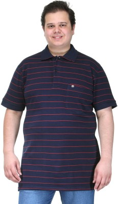 PlusS Striped Men's Polo Neck Dark Blue T-Shirt