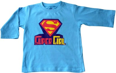 Acute Angle Printed Girl,s Round Neck Light Blue T-Shirt