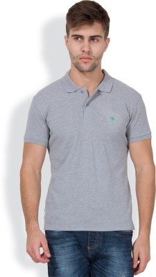 The Indian Garage Co. Solid Men's Polo Neck Grey T-Shirt