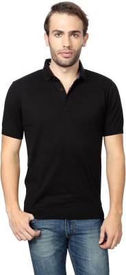 Peter England Solid Men's Polo Neck Black T-Shirt
