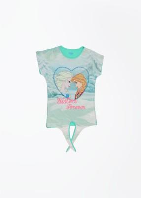 Frozen Printed Girl's Round Neck Green T-shirt