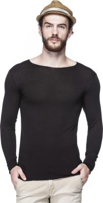 Tinted Solid Men's Round Neck Black T-Shirt