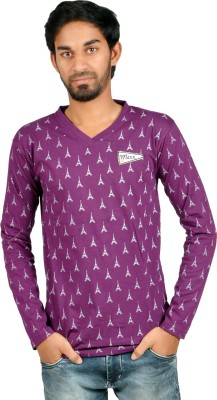 Harsha Printed Men's V-neck Purple T-Shirt