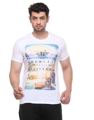 Rose Taylor Printed Men,s Round Neck White T-Shirt