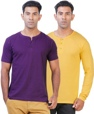 Click Hit Solid Men's Henley Purple, Yellow T-Shirt