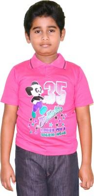 Harsha Avatar Printed Boy's Polo Neck Pink T-Shirt