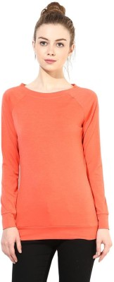 T-shirt Company Solid Women's Boat Neck Orange T-Shirt
