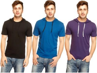 Gritstones Solid Men's Hooded Multicolor T-Shirt