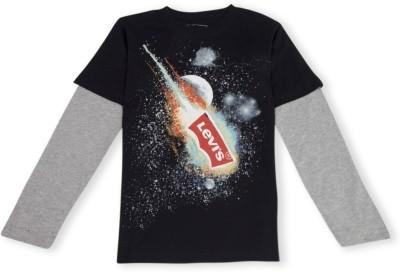 Levis Kids Printed Boy's Round Neck Black T-Shirt
