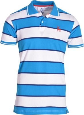 IND Classic Striped Men's Polo Neck Light Blue T-Shirt