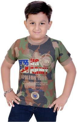 Mint Printed Boy's Round Neck Green T-Shirt