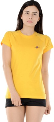 S9 Women Solid Women's Round Neck Yellow T-Shirt