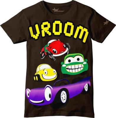 Grasshopr Graphic Print Baby Boy's Round Neck Brown T-Shirt