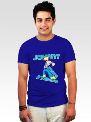 Incynk Printed Men's Round Neck Blue T-Shirt