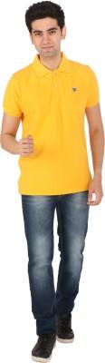 Tasho Zaara Solid Men's Polo Neck Yellow T-Shirt