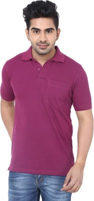 Crocks Club Solid Men's Polo Neck Purple T-Shirt