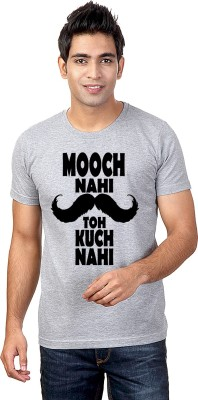 Sharq Printed Men's Round Neck Grey T-Shirt