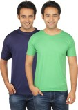 Quetzal Solid Men's Round Neck Blue, Gre...