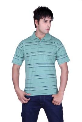 Update Striped Men's Flap Collar Neck Green T-Shirt