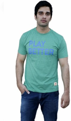 Aeltic Graphic Print Men's Round Neck Green T-Shirt