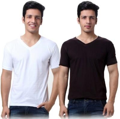 Lime Solid Men's V-neck T-Shirt