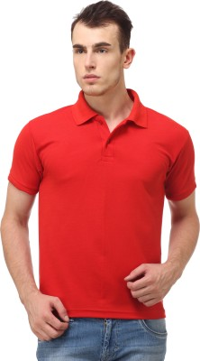 Lime Fashion Solid Men's Polo Red T-Shirt