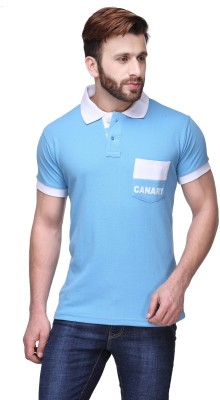 Canary London Solid Men's Polo Light Blue T-Shirt