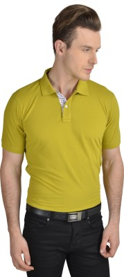 Pacific Time Solid Men's Polo Neck Green T-Shirt