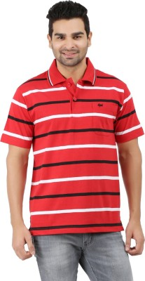 6P6 Striped Men's Polo Neck Red T-Shirt